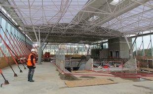 La mezzanine de la gare de Nantes en construction