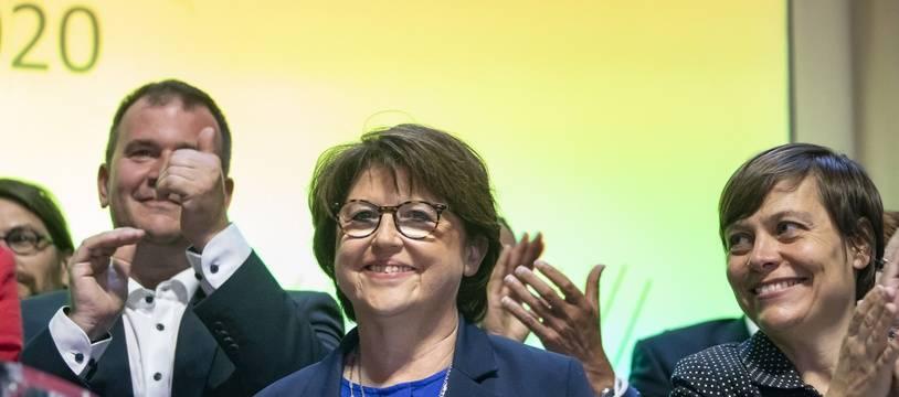 Martine Aubry, lors de sa rélection aux municipales à Lille, le 28 juin 2020.