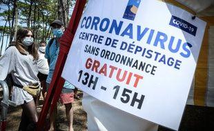 Illustration d'un centre de dépistage du coronavirus, ici à La Teste-de-Buch, dans le bassin d'Arcachon.