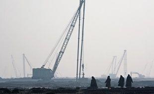 La zone industrielle de Caofeidian, en baie de Bohai, où seront implantées les usines de désalinisation d'eau de mer.