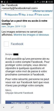 Une capture d'écran d'un message de sécurité envoyé sur Facebook.