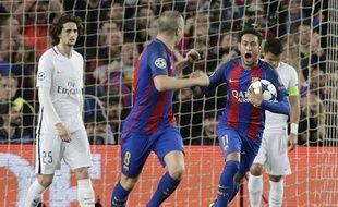 Neymar après son but contre le PSG au Camp Nou le 8 mars 2017.