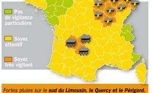 La carte des départements concernés par une alerte orange le 9 juin 2010.