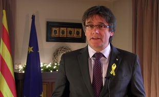 Capture d'écran de la vidéo des voeux pour 2018 de Carles Puigdemont, président catalan destitué.