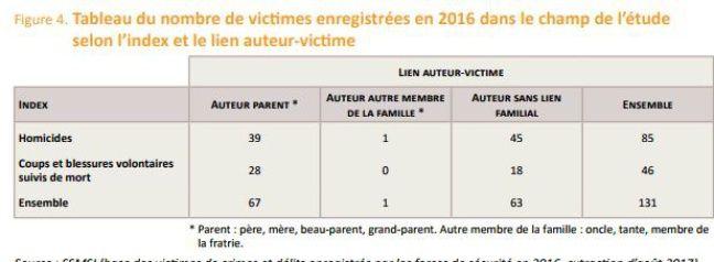 Tableau statistique des enfants morts d'infanticide en 2016.