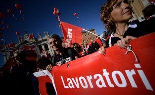 Manifestation de travailleurs italiens contre les projets de réforme du code du travail, le 25 octobre 2014 à Rome