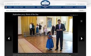 Barack Obama a écrit un mot pour justifier l'absence à l'école d'Alanah Poullard, 5 ans, qui participait à une cérémonie d'hommage aux blessés de guerre. Le 19 septembre 2013.