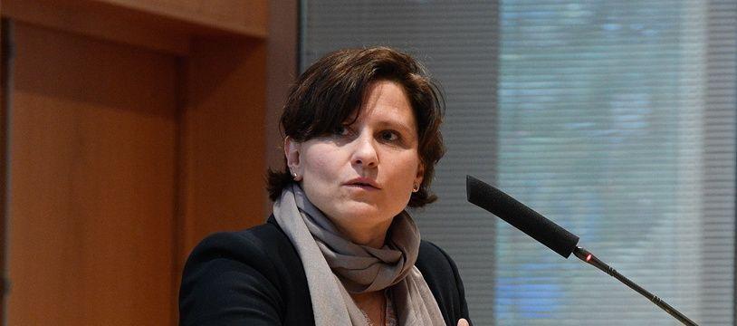 La ministre des Sports Roxana Maracineanu lors d'une visite a l'Ecole Polytechnique sur le thème de la recherche appliquée a la performance sportive, le 1er avril 2019.