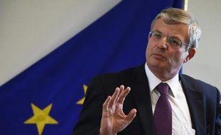 Le commissaire européen à la Santé, Tonio Borg, le 16 octobre 2014, lors d'une conférence de presse à Bruxelles sur les mesures de prévention contre le virus Ebola