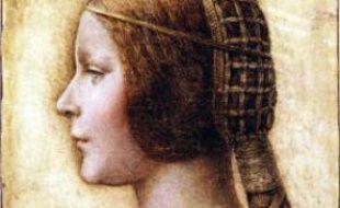 le portrait de profil pourrait être celui de Bianca Sforza, fille de Ludivico Sforza, duc de Milan. Par Leonard de Vinci