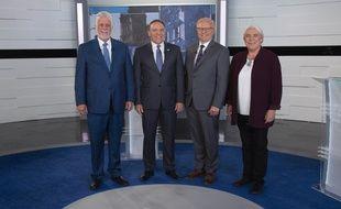Philippe Couillard, Premier ministre libéral sortant, François Legault, chef de la Coalition avenir Quebec, Jean-François Lisée, chef du Parti Québécois, Manon Massé, co-porte parole de Québec solidaire.