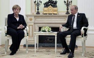 Vladimir Putine et Angela Merkel au Kremlin le 10 mai 2015