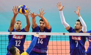 L'équipe de France de volley a réussi ses débuts dans l'Euro en battant facilement la Roumanie, le 12 septembre 2019 à Montpellier.