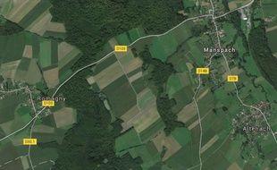 RD 103  entre Manspach et Romagny dans le Sundgau. Google Earth