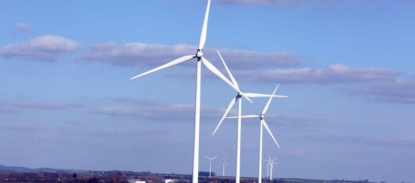 Un champ d'éoliennes (Illustration).