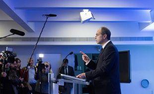 Jean-François Copé, le président de l'UMP, lors d'une «déclaration solennelle», le 3 mars 2014 au siège du parti, à Paris.