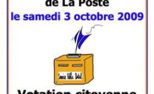L'affiche de la Consultation nationale sur la privatisation de La Poste.