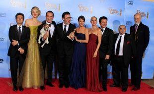 L'équipe du film «The Artist», récompensé par trois Golden Globes, le 15 janvier 2012.