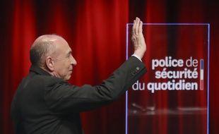 Le ministre de l'Intérieur Gérard Collomb lors de la présentation de la Police de Sécurité du Quotidien (PSQ) le 8 février 2018 à Paris.