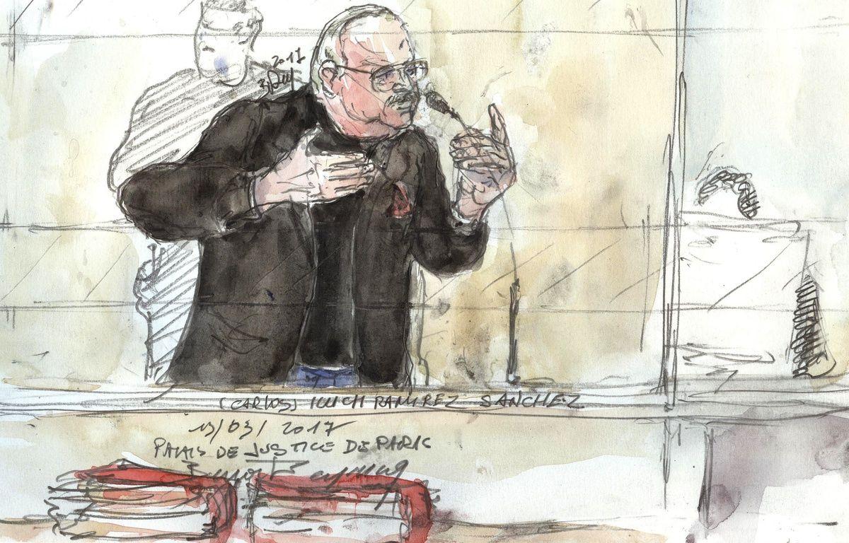 Paris, le 13 mars 2017. Le terroriste Carlos se défend lors de son procès pour l'attentat du drugstore Publicis, commis en 1974. – Benoit PEYRUCQ / AFP