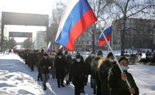 Des partisans de Alexei Navalny, à Novosibirsk le 31 janvier 2021.