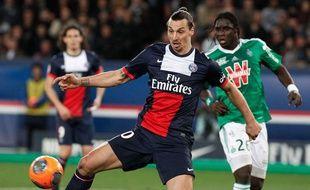 Zlatan Ibrahimovic lors du match entre le PSG et Saint-Etienne le 16 mars 2014.