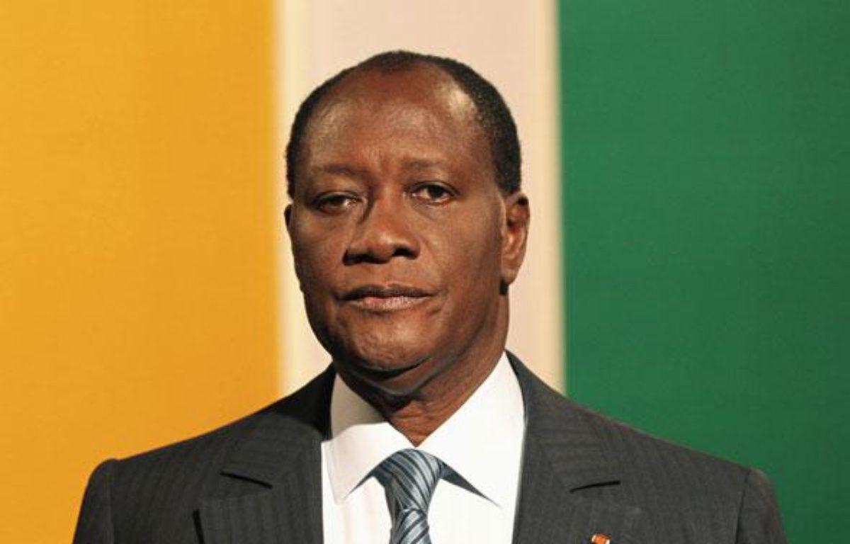Alassane Ouattara, donné vainqueur de la présidentielle en Côte d'Ivoire, le 29 octobre 2010 à Abidjian. – REUTERS/Luc Gnago