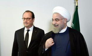 Les présidents français Francois Hollande et iranien Hassan Rohani lors d'une rencontre en marge de l'assemblée générale de l'Onu le 27 septembre 2015 à New York