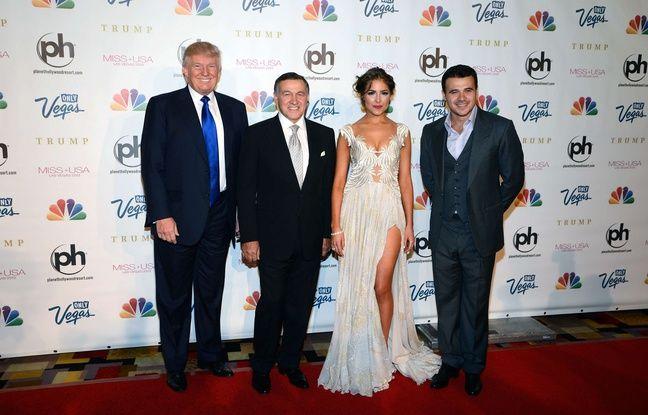 Donald Trump aux côtés du milliardaire Aras Agalarov et de son fils, Emin, lors du concours de Miss Univers 2013, à Moscou.