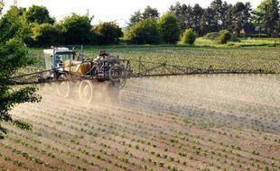 Un agriculteur épand des pesticides sur un champ de pommes de terre, dans le nord de la France, en 2012