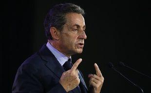 Nicolas Sarkozy lors d'une réunion publique du parti Les républicains, à Poissy, le 6 septembre 2016.