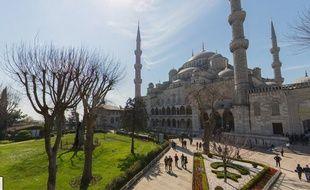 Google map du quartier touristique de Sultanahmet, près de la basilique Sainte-Sophie et de la Mosquée bleue, à Istanbul.