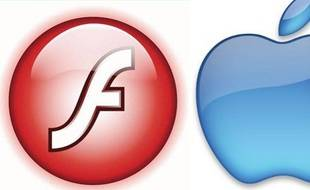 Le logo d'Adobe Flash et d'Apple