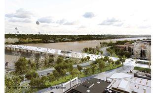 Vue du futur pont Jean-Jacques Bosc à Bordeaux, côté rive gauche