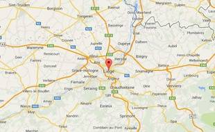 Vue Google Maps de Liège, en Belgique.