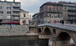 A ce carrefour de Sarajevo, près du pont, le 14 janvier 2014, le destin de l'Europe a basculé, le 28 juin 1914, avec l'assassinat de l'archiduc d'Autriche François Ferdinand par le jeune nationaliste serbe bosniaque Gavrilo Princip