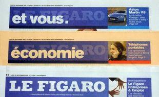 Plusieurs Unes du Figaro et ses suppléments.