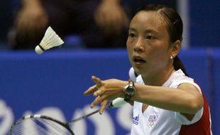 La joueuse française de badminton Hongyan Pi, lors de son match en 16es de finale des Jo de Pékin face à la Japonaise Hirose, mardi 11 août 2008.