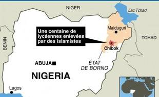 Carte localisant Chibok, lieu de l'enlèvement de lycéennes, au Nigeria