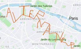 Agathe Le Sommer a décidé de courir dans les rues de Paris, afin de former le mot « alternance », visible sur son GPS.
