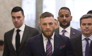 La star MMA irlandaise Conor McGregor à sa sortie du tribunal, à New York, le 26 juillet 2018.