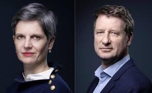 Les candidates à la primaire écologiste Sandrine Rousseau et Yannick Jadot.