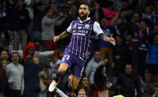 L'ailier du TFC Jimmy Durmaz après son but contre Guingamp en Ligue 1, le 17 septembre 2016 au Stadium de Toulouse.