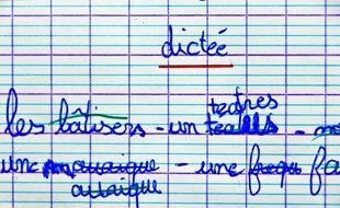 Copie d'une petite écolière de la Sarthe en octobre 2019.