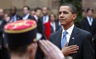Barack Obama lors de la cérémonie d'accueil à Strasbourg, au palais Rohan.