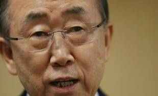 Le secrétaire général de l'ONU Ban Ki-moon le 17 avril 2015 à Washington aux Etats-unis