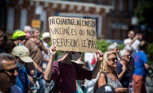 Le 17 juillet 2021 à Toulouse, une manifestation contre le pass sanitaire.