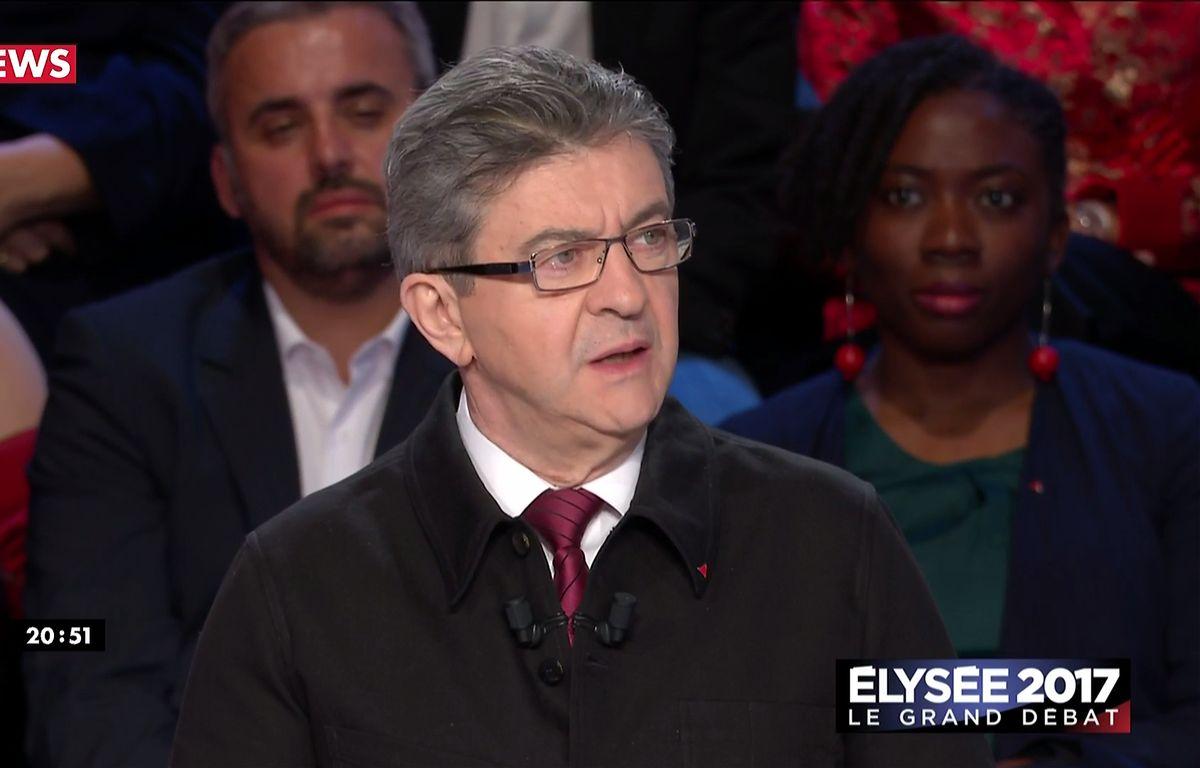 Jean-Luc Mélenchon lors du débat présidentiel du 4 avril 2017 sur BFMTV et CNews. – Capture d'écran BFMTV