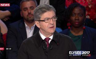 Jean-Luc Mélenchon lors du débat présidentiel du 4 avril 2017 sur BFMTV et CNews.
