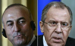 Montage de photos avec le ministre turc des Affaires étrangères Mevlut Cavusoglu (g), le 27 juillet 2015 à Lisbonne et son homologue russe, Sergueï Lavrov, le 27 novembre 2015 à Moscou